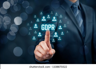 GDPR (general data protection regulation) concept. Businessman or IT technologist click on text GDPR and icons of people to implement GDPR.