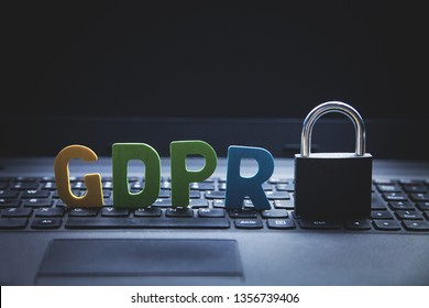 GDPR General Data Protection Regulation. Padlock with colorful word on laptop keyboard.