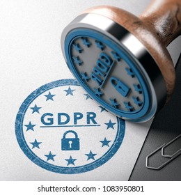 GDPR mark imprinted on a paper background with rubber stamp. Concept of European Data Protection Management Compliance. 3D illustration