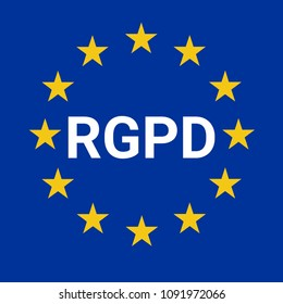 GDPR sign illustration called RGPD in French