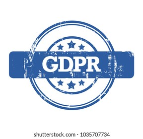 GDPR stamp, General Data Protection Regulation, with stars isolated on a white background.