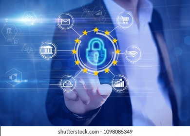 GDPR.General Data Protection Regulation concept.Man hands puting at cyber padlock