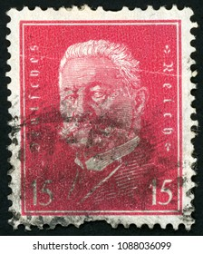 GDR - CIRCA 1928: post stamp printed in Germany (DDR) shows general field marshal and president Paul von Hindenburg; Scott 374 A61 15pf red; circa 1928