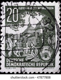 GDR -CIRCA 1953: A stamp printed in the GDR (East Germany) shows Bad Elster of the workers, circa 1953