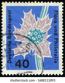 GDR - CIRCA 1963: stamp 40 East German pfennig printed in Germany (GDR, DDR) shows flowering plant Stampexhibition Flora and philately, Flora and Philately Exhibition, Hamburg, circa 1963