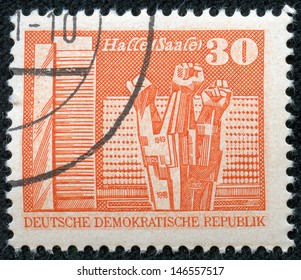 GDR - CIRCA 1973: a stamp printed in GDR shows Worker's Memorial, Halle, circa 1973