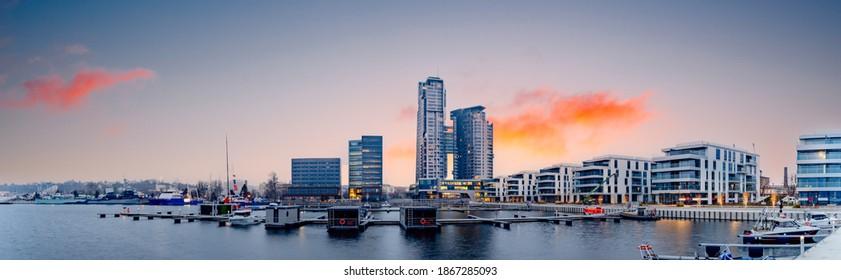 Gdynia city panorama, new marina