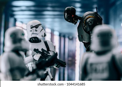 Gdynia, Poland. 02 March 2018. Stormtroopers and K-2SO figures from Star Wars Rogue One. Figure is 6 inch Hasbro Black Series.