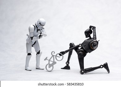 Gdynia, Poland. 13 Feb 2017. Stormtrooper and K-2SO figures from Star Wars Rogue One. Figure is 6 inch Hasbro Black Series.