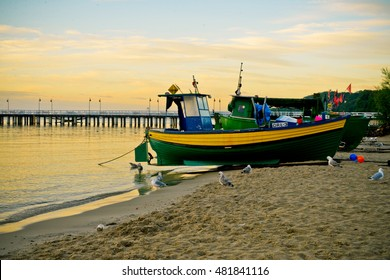 GDYNIA, POLAND - APRIL 30: Boats on the shore of Baltic sea on April 30, 2016 in Gdynia, Poland.