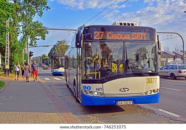 GDYNIA, POLAND - AUGUST 1 - A Solaris Trollino trolleybus, belonging to PKT Gdynia, on August 1, 2017 in Gdynia, Poland