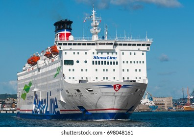GDYNIA, POLAND: August 14, 2017: Stena Line ferries leaving the harbor port Gdynia in Poland.