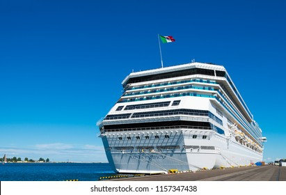 GDYNIA, POLAND: August 15, 2017: Costa Pacifica cruise ship docked in harbor of Gdynia in Poland- Europe