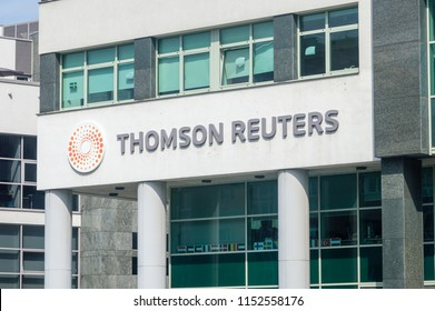Gdynia, Poland - August 2, 2018: Logo and sign of Thomson Reuters Corporation. Thomson Reuters is a Canadian multinational mass media.