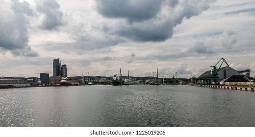 Gdynia, Poland,  August 25, 2018; Gdynia port in cloud day seeing from deck of pleasure boat.