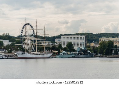 Gdynia, Poland,  August 25, 2018; Frigate docked in port of Gdynia in cloud day