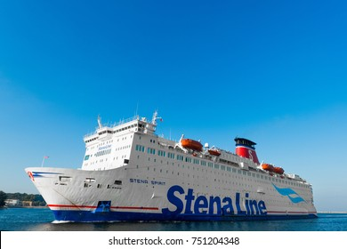 GDYNIA, POLAND: August 9, 2017: Stena Line ferries coming to the harbor port Gdynia in Poland.
