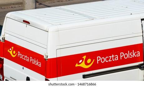 GDYNIA, POLAND - JUNE 7, 2019: Poczta Polska mail delivery van on city street. Poczta Polska (Polish Post) is the state postal administration of Poland.