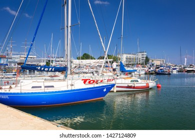 Gdynia, Poland - June 8, 2019: Marina at Baltic Sea with yachts in Gdynia, Poland. Gdynia is an important seaport of Baltic Sea in Poland.