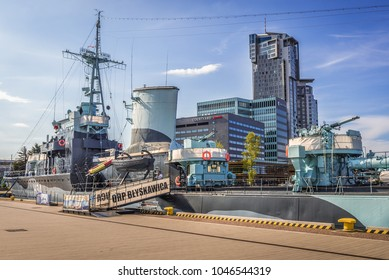 Gdynia, Poland - May 15, 2017: ORP Blyskawica destroyer ship preserved as a museum ship in Gdynia city, view with Sea Towers building on background