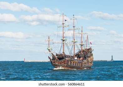 """GDYNIA, POLAND- September 18, 2016: """"Dragon"""" - pirate ship on the water of Baltic Sea in Gdynia. This ship imitating XVII century galleon is big tourist attraction in Poland."""