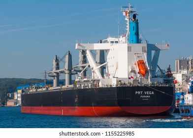 GDYNIA, POLAND: September 28, 2017: PRT VEGA PANAMA bulk carrier ship docked in port of Gdynia.