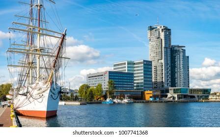 Gdynia, Poland-September 2016: Marina and waterfront in Gdynia, Poland