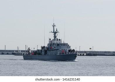 GDYNIA, POMERANIA REGION / POLAND - 2019: The minesweeper of the Polish Navy maneuvers in the naval base