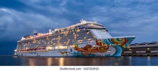 GDYNIA, POMERANIA REGION / POLAND - 2019: The beautiful cruise ship NORWEGIAN GETAWAY at the passenger terminal in the seaport