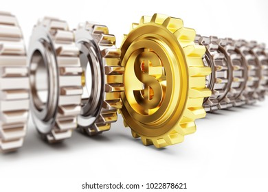 gear dollar  on a white background 3D illustration, 3D rendering