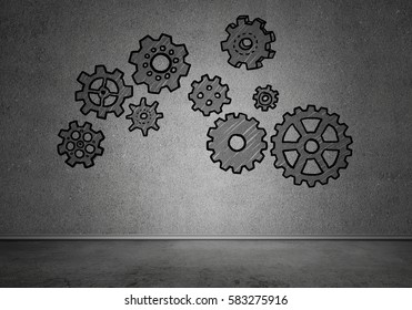 Gear hand drawn mechanism on gray wall