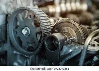 Gear inside an car engine. Mechanic part of gear in an engine.