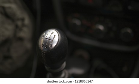 gear lever of manual gearbox, close up, selected focus.