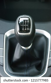 Gear lever of manual gearbox. Manual six gear car transmission shifter.