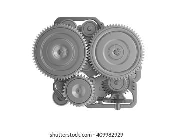 Gear machine metal. 3D rendering