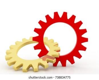 Gear Mechanism, Team work concept, 3D Gears Working in Team, Gear mechanism Concept. 3d render