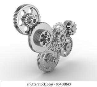 Gear mechanism - this is a 3d render illustration