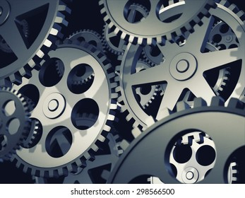Gear metal wheels, 3d illustration
