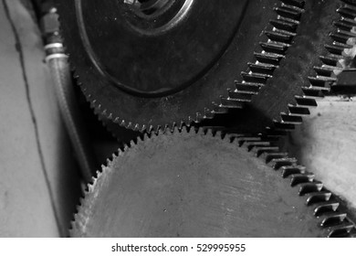 Gear of Obsolete Lathe. Black-and-white photo.