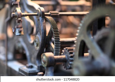 It is gear of old clock in Rhodes town, Greece