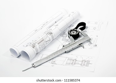 gear on blueprint with caliper