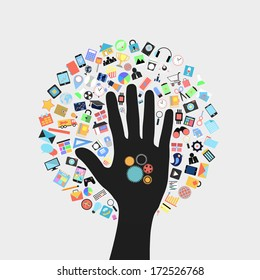 gear on hand with  social applications graphical user interface flat icons