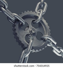 gear on the steel chain isolated on gray background. High resolution 3d