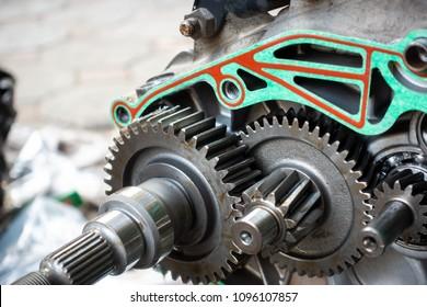 Gear in opened box of motorbike engine
