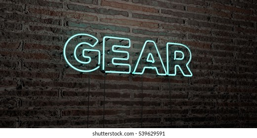 GEAR -Realistic Neon Sign on Brick Wall background - 3D rendered royalty free stock image. Can be used for online banner ads and direct mailers.