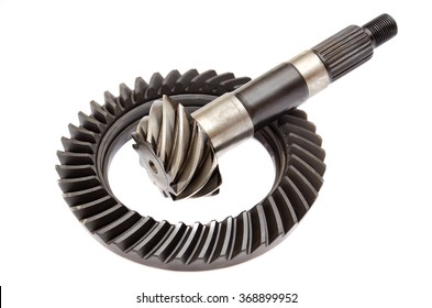 The gear ring and pinion, differential, Isolated on white background