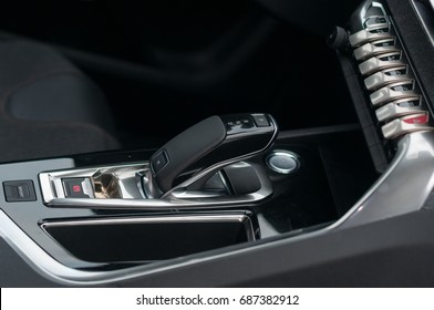 Gear shift lever in the new, modern car.