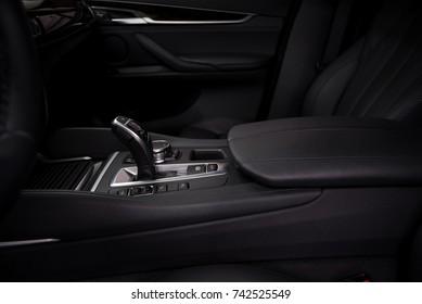 Gear shift in modern car. Interior detail.