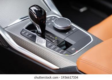 Gear shift in new luxurious car