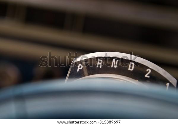 Gear Shift Selector Indicator On Vintage Stock Photo (Edit